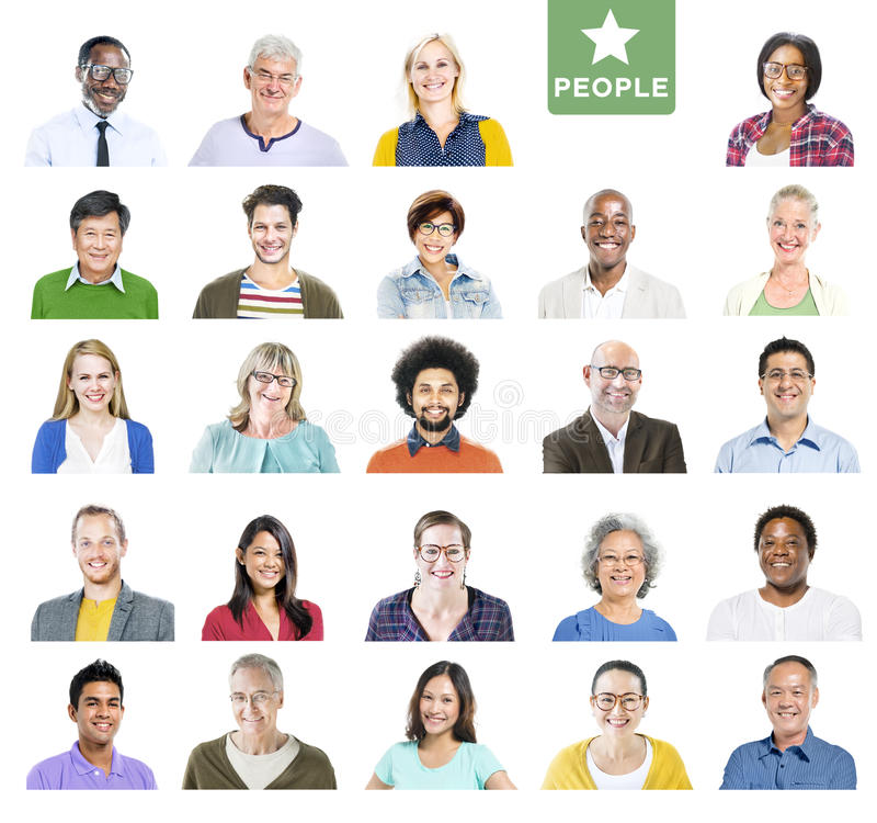 Portrait of Multiethnic Colorful Diverse People stock image