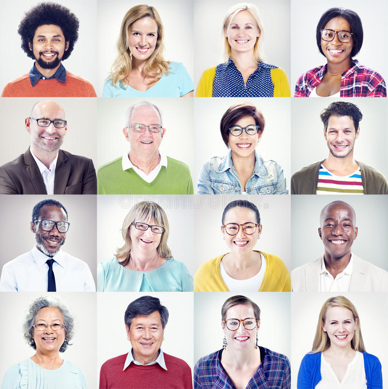 Portrait of Multiethnic Diverse Colorful People.  royalty free stock image