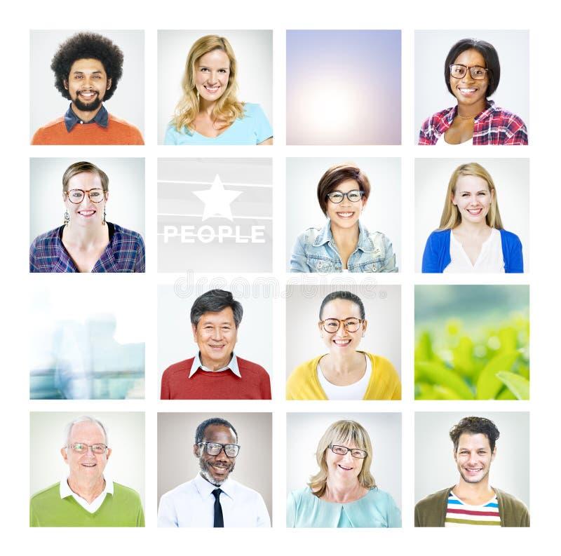 Portrait of Multiethnic Diverse World People.  stock photo