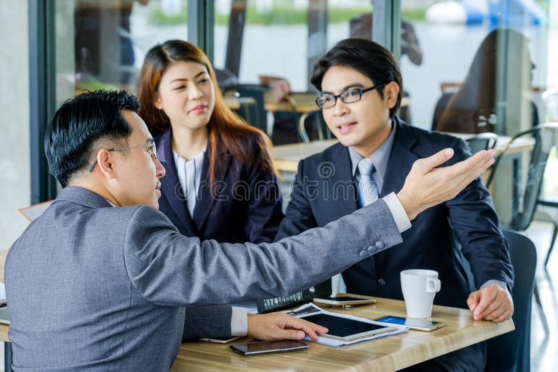 Portrait Multiracial Businesspeople Brainstorming In Meeting royalty free stock images