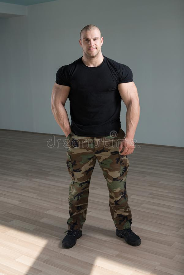 Portrait Of A Muscular Man In Army Pants. Portrait Of A Young Physically Fit Man Showing His Well Trained Body In Army Pants - Muscular Athletic Bodybuilder stock photos