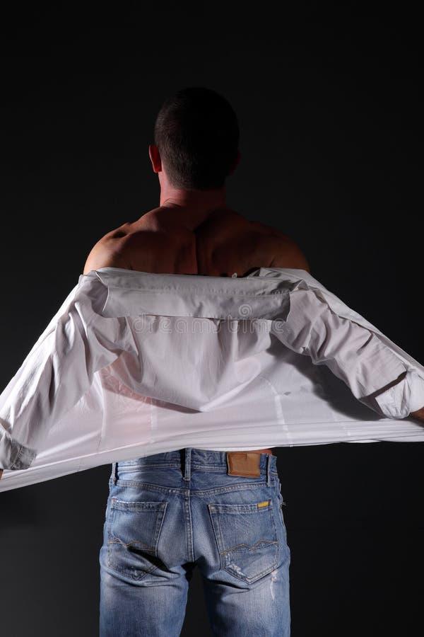 Download Portrait Muscular Man On Black Background Stock Photo - Image of angels, black: 34458268