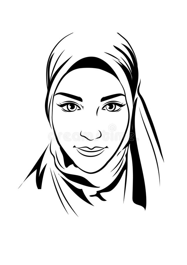 Portrait of muslim beautiful girl in patterned hijab, vector illustration, hand drawing style. royalty free illustration