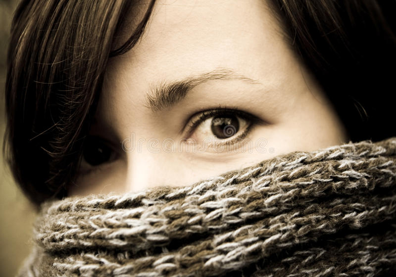Download Portrait Of Mysterious Woman Stock Photo - Image of hidden, scarf: 12633632
