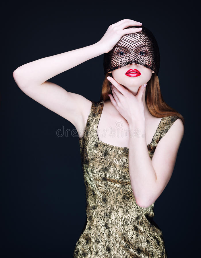 Portrait of a mysterious woman in a veil royalty free stock photos