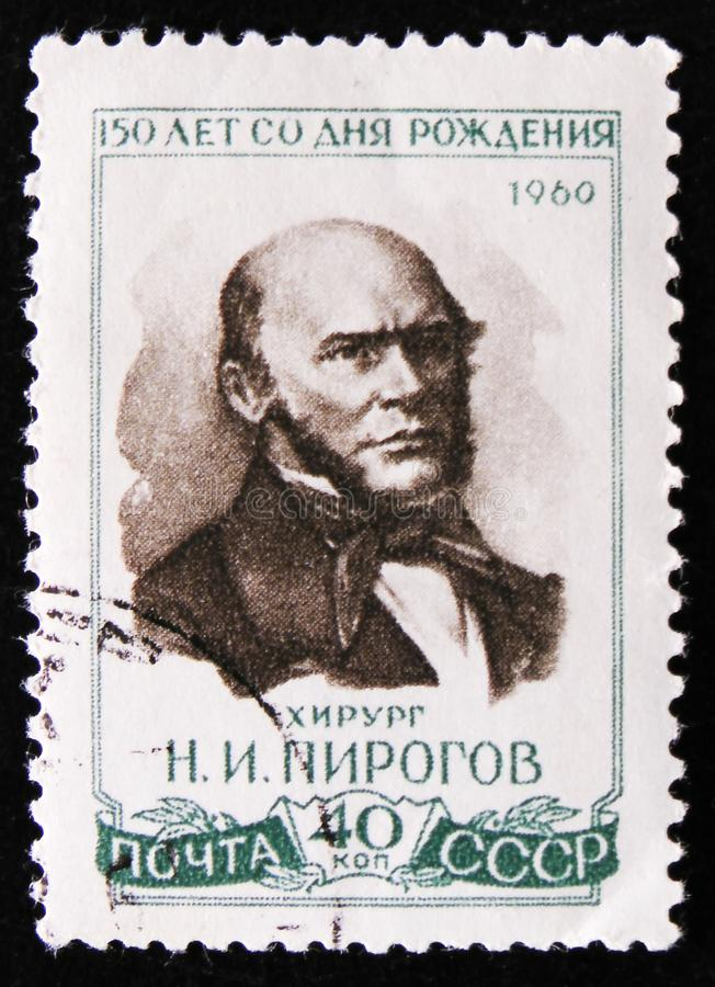 Portrait of N. Pirogov, Russian surgeon, 150 birth anniversary, circa 1960. MOSCOW, RUSSIA - APRIL 2, 2017: A post stamp printed in USSR portrait of N. Pirogov stock image