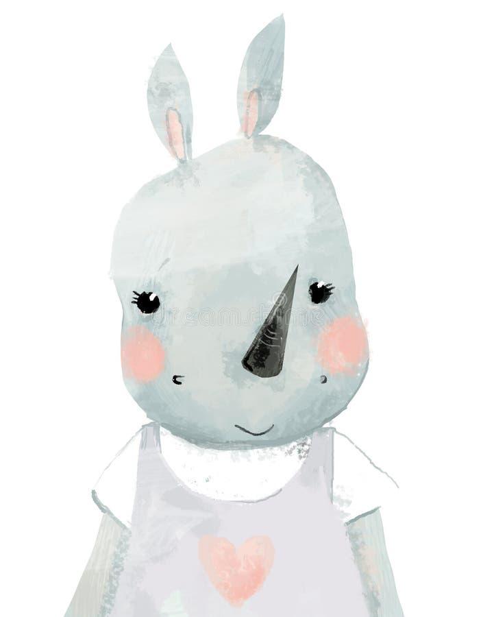 Portrait naïf mignon de peu de rhinocéros de fille d'aquarelle images libres de droits