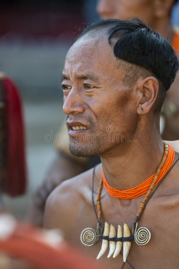 Portrait of a  Naga Man during Hornbill Festival,Nagaland,India royalty free stock photography