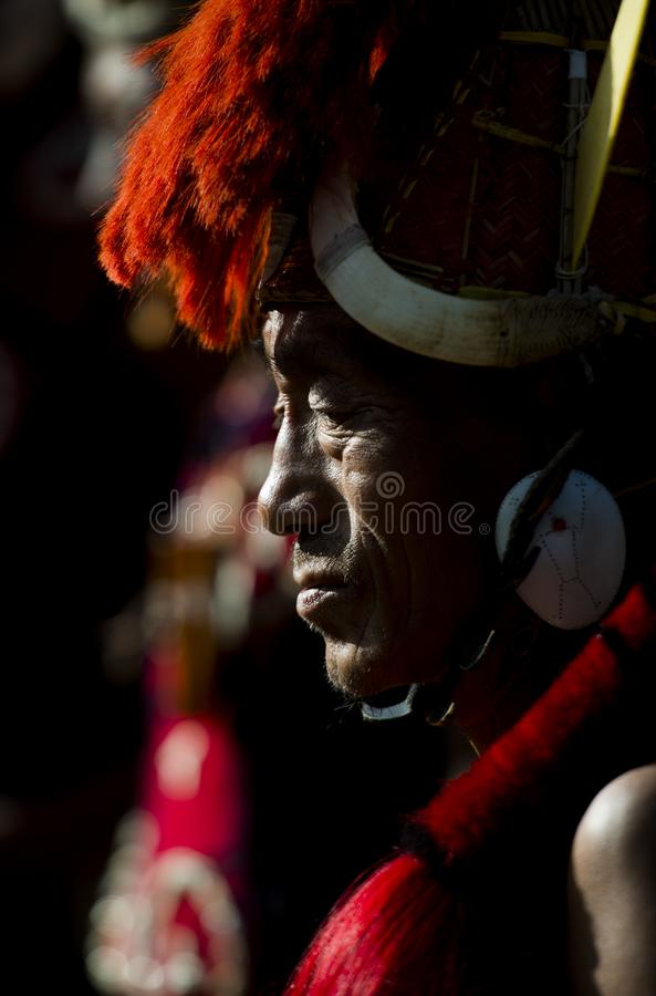 Portrait of a  Naga Man during Hornbill Festival,Nagaland,India. Portrait of a Naga Man during Hornbill Festival,Nagaland,India,Asia royalty free stock photos