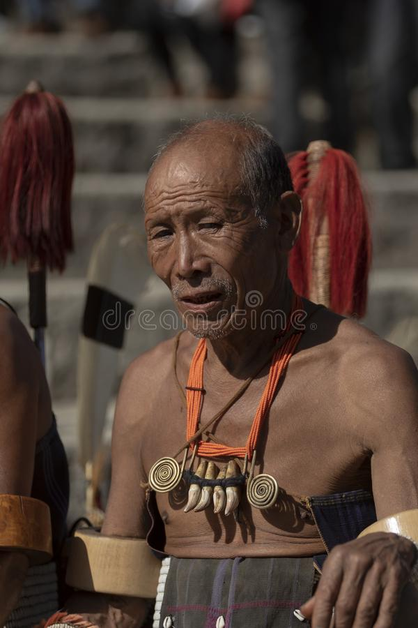 Portrait of a  Naga Man during Hornbill Festival,Nagaland,India stock image