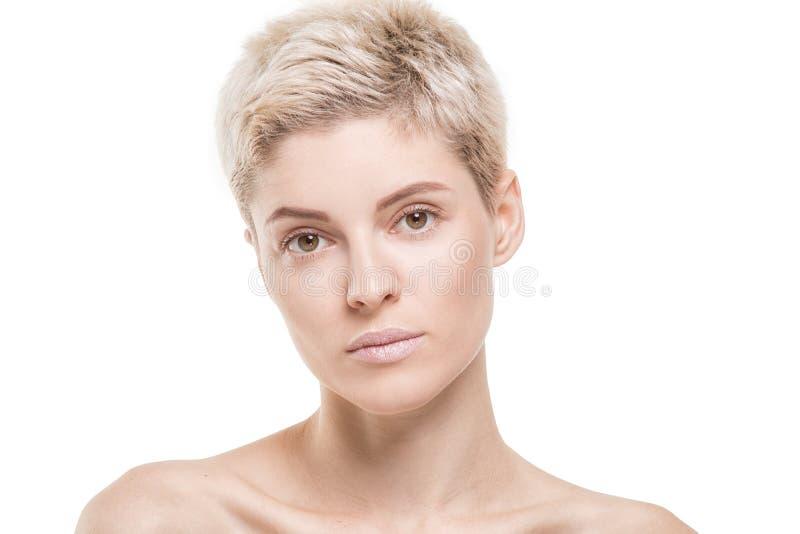 Portrait Of Blonde Short Hair Girl In Studio Stock Image Image Of Light Isolated 103743495