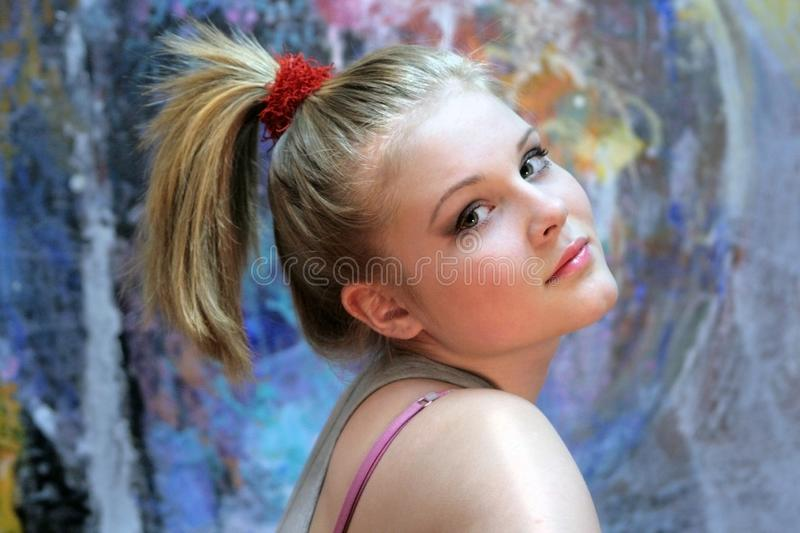 Portrait of a natural blonde. Teen Girl with a High Ponytail - Youth Hairstyle royalty free stock images