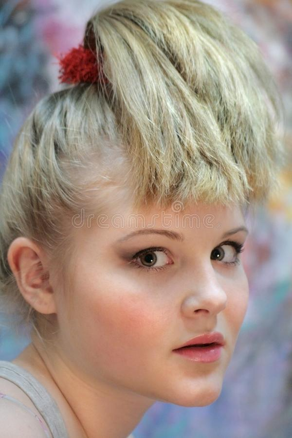 Portrait of a natural blonde. Teen Girl with a High Ponytail - Youth Hairstyle stock photos