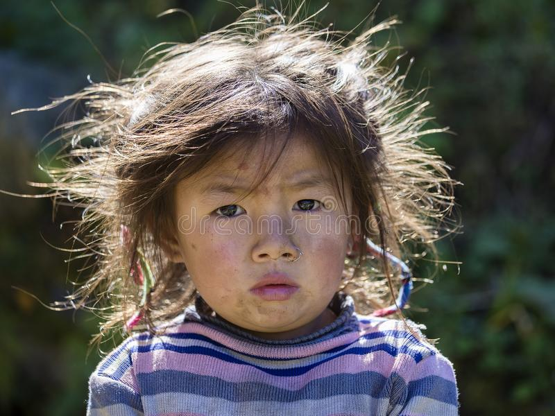 Portrait nepalese child on the street in Himalayan village, Nepal royalty free stock images