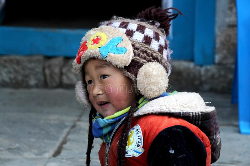 Portrait of a Nepalese sherpa boy stock photos
