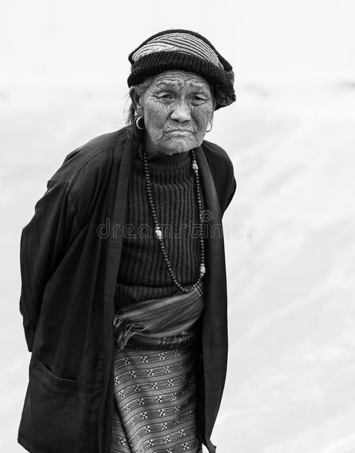Portrait of a Nepalese woman. Kathmandu, Nepal - 06 October 2017: Portrait of a Nepalese woman in Kathmandu street stock photo