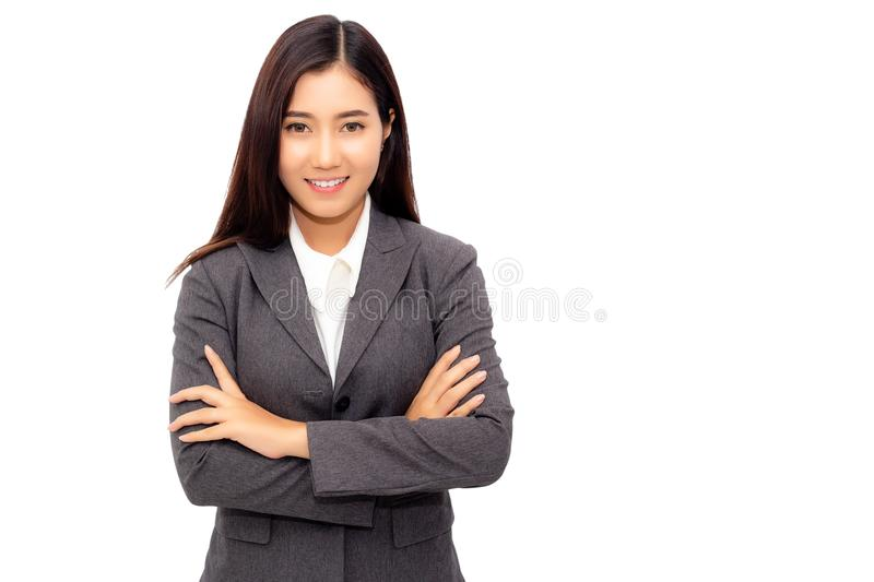 Portrait new generation of young business woman. Charming businesswoman cross arm and looks confident, determined. Attractive stock photo