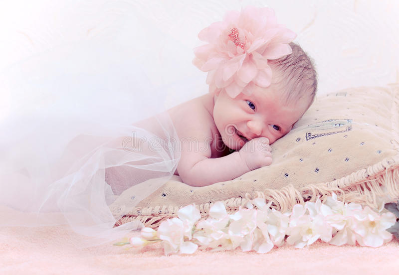 Portrait Newborn Baby Lying In Pillow Royalty Free Stock Photos