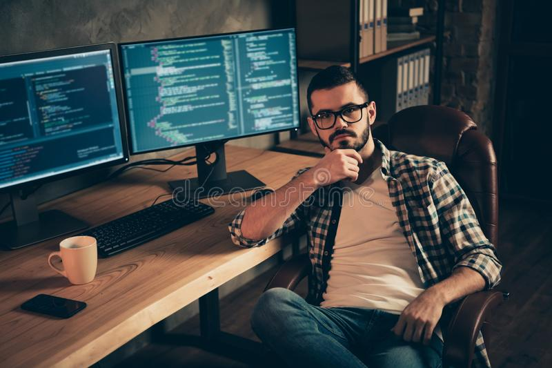 Portrait of nice attractive confident bearded guy wearing checked shirt professional expert experienced shark genius at stock images