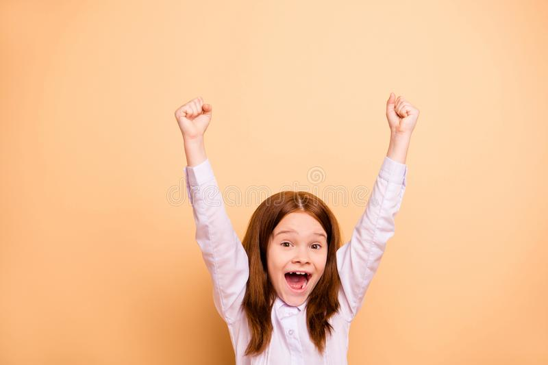 Portrait of nice attractive crazy cheerful cheery overjoyed ecstatic pre-teen girl great cool attainment accomplishment. Portrait of nice attractive crazy stock photography