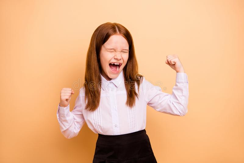 Portrait of nice attractive lovely crazy cheerful cheery overjoyed pre-teen girl great cool news dream attainment. Portrait of nice attractive lovely crazy stock photo