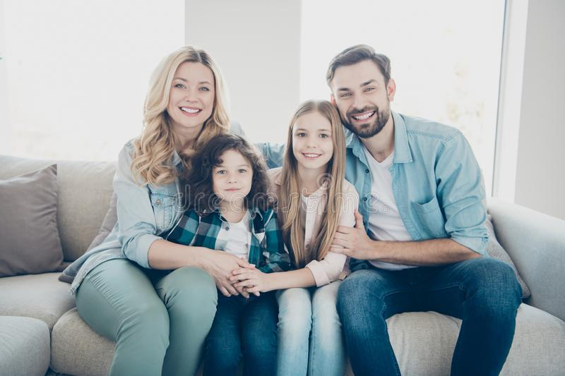 Portrait of nice attractive lovely cute cheerful cheery people big large family wearing casual jeans denim sitting on stock photo