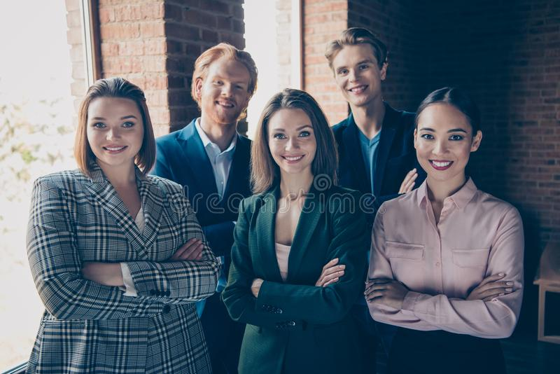 Portrait of nice clever smart intelligent lovely glamorous beautiful diverse attractive handsome cheery executive top stock images