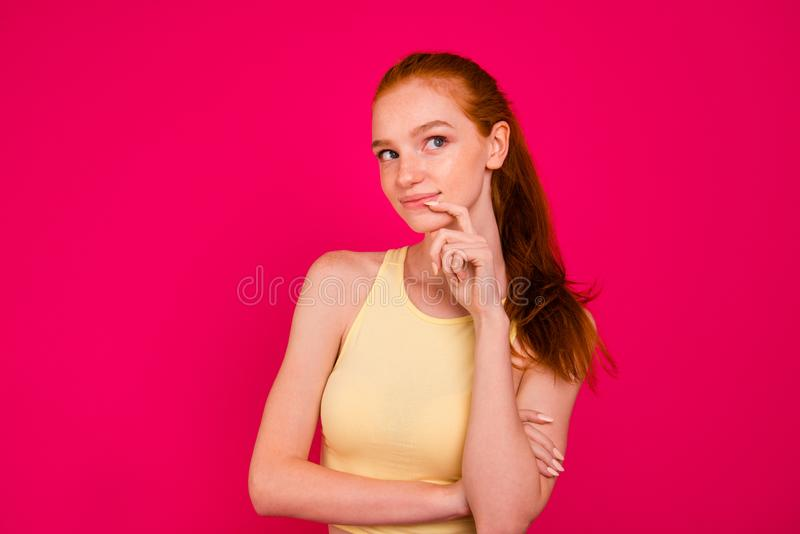 Portrait of nice cute adorable attractive positive minded red-ha stock photo