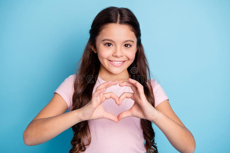 Portrait of nice cute charming girl show affection support bonding to mom parent boys school mate kids valentine day. Portrait of nice cute charming girl show stock image