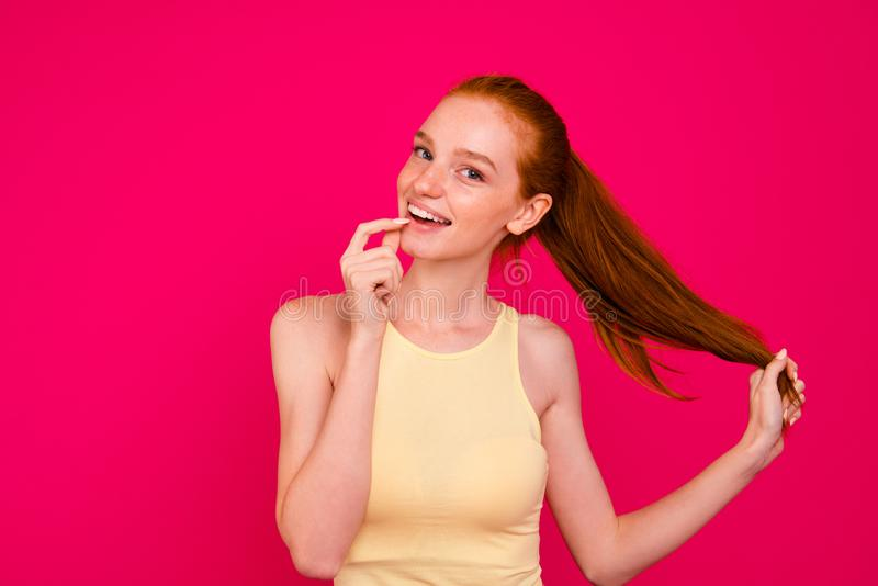 Portrait of nice cute lovely adorable attractive positive dreamy royalty free stock photos