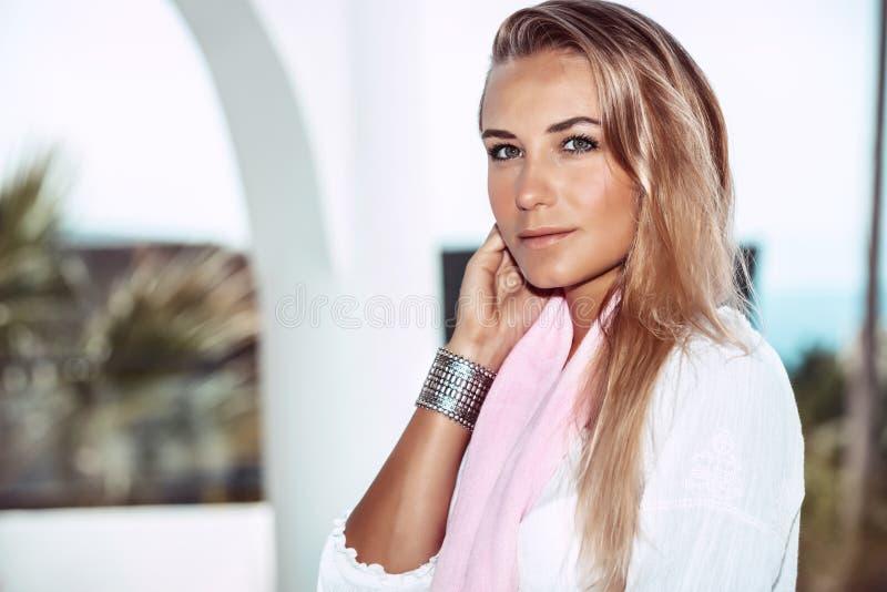Nice female on the summer resort stock photos