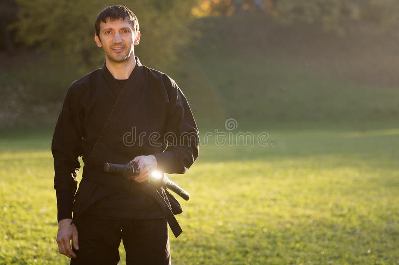 Portrait of ninja royalty free stock photo