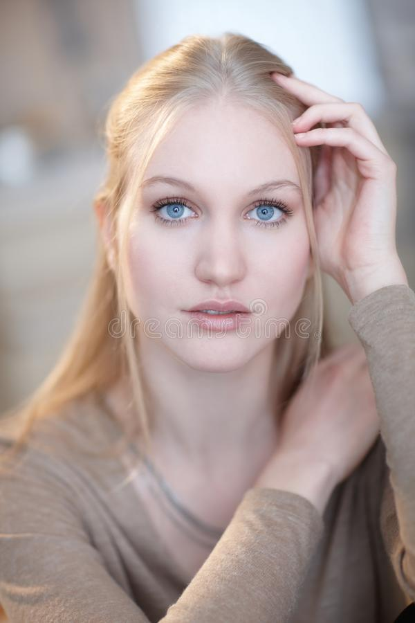 Portrait of nordic type woman. Portrait of nordic type young woman looking at camera stock photo