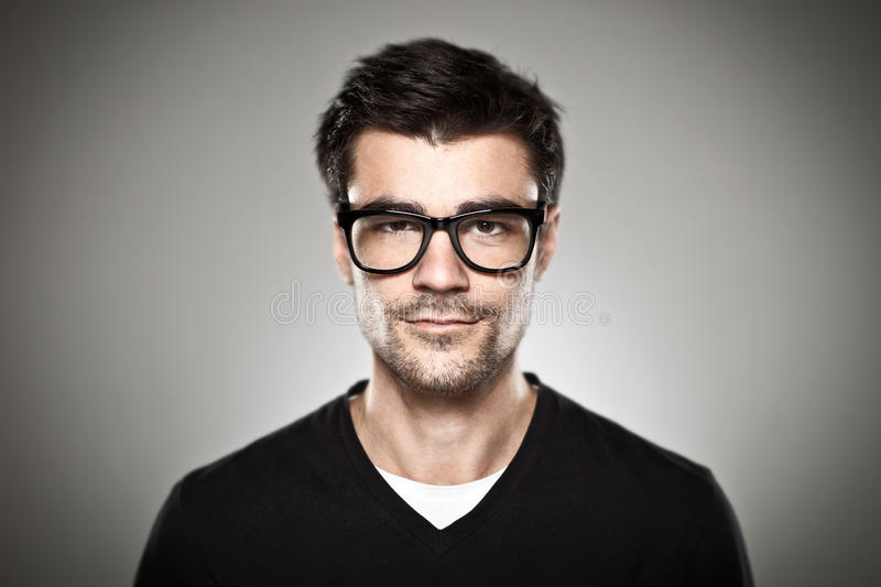 Download Portrait Of A Normal Boy With Rimmed Glasses Stock Photo - Image of glasses, mustache: 30450134
