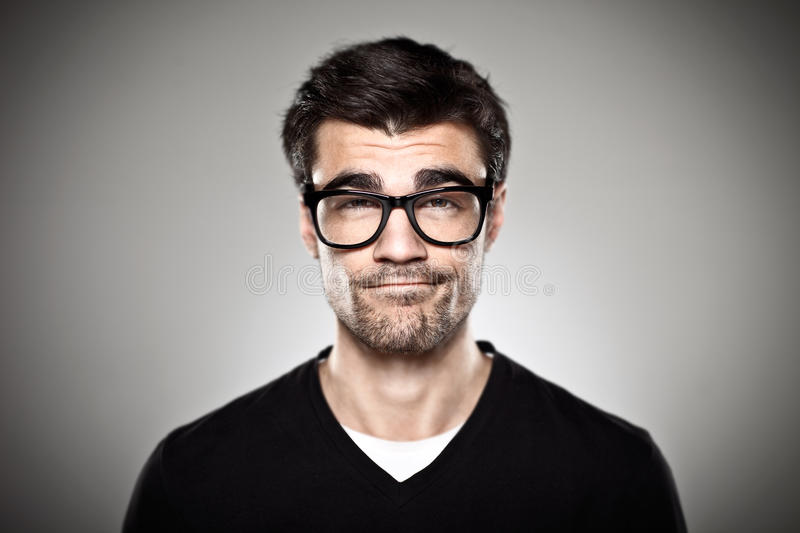Download Portrait Of A Normal Boy With Rimmed Glasses Stock Image - Image: 30450139
