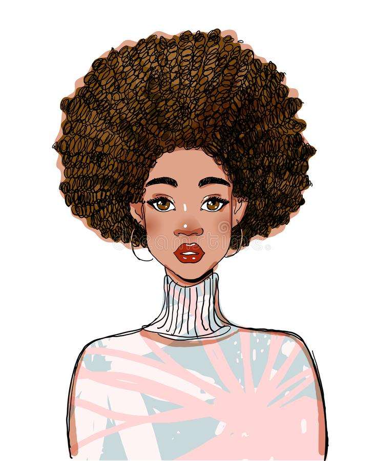 Free Portrait Of A Beautiful Black Woman Model. Modern Afro American Girl With Curly Hair. Vector Illustration Isolated On A Royalty Free Stock Photos - 168452418