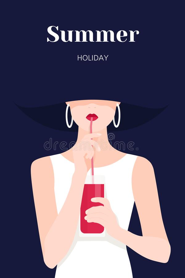 Free Portrait Of A Beautiful Woman. A Girl Drinks Juice Through A Straw. Royalty Free Stock Photo - 118153115