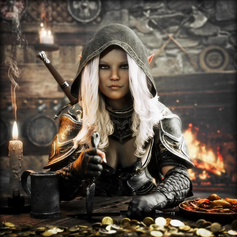 Free Portrait Of A Dangerous Fantasy Hooded Dark Elf Assassin Resting At A Medieval Tavern After A Successful Bounty. Stock Photos - 172608143