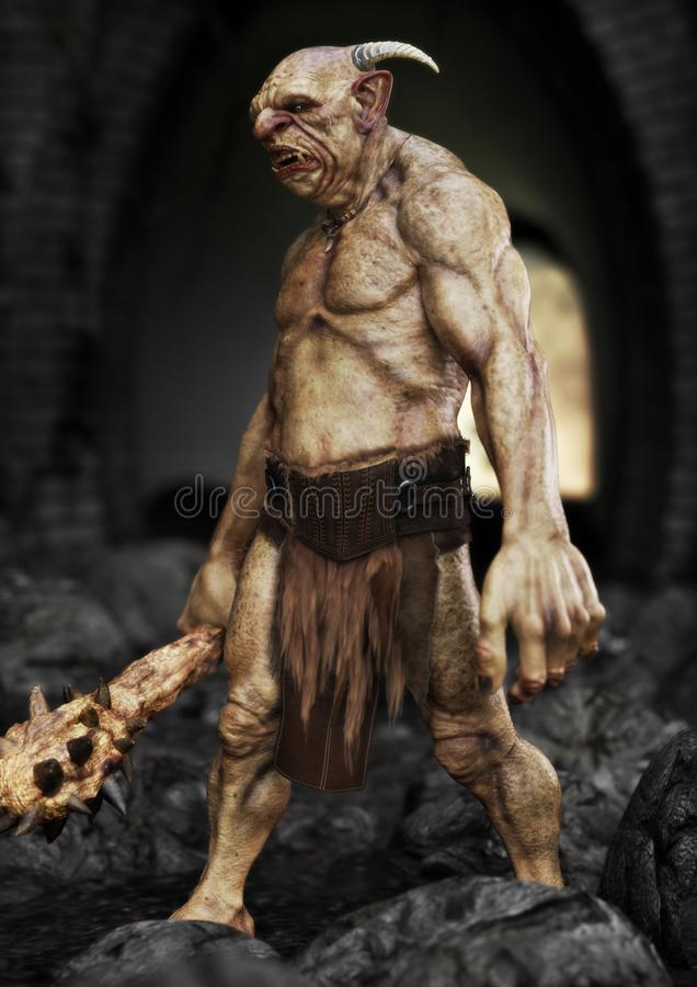 Free Portrait Of A Evil Troll With Spiked Club, Patrolling Under A Bridge. Royalty Free Stock Photography - 163745847