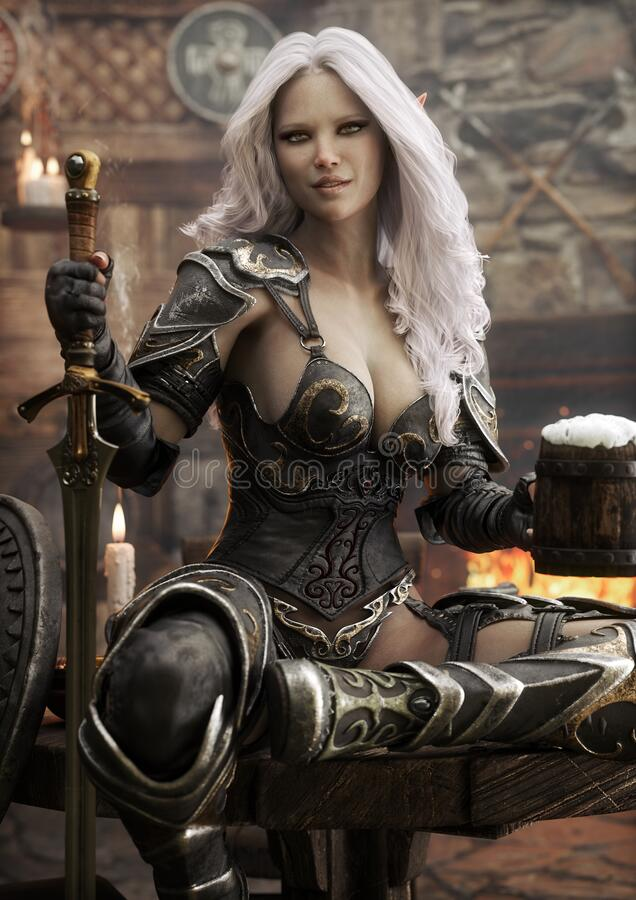 Free Portrait Of A Fantasy Warrior Dark Elf Female With White Hair,relaxing In A Medieval Tavern With Ale After A Long Journey. Stock Image - 170741771