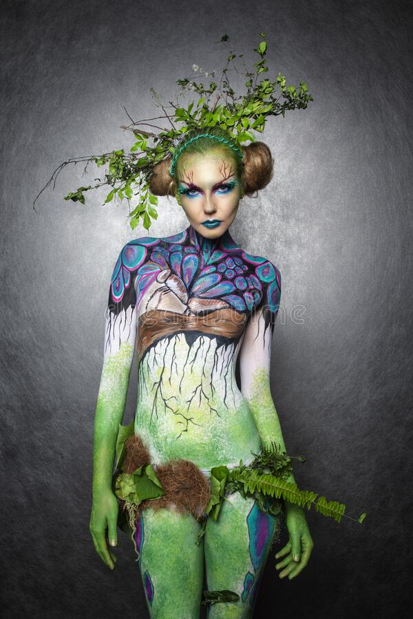 Free Portrait Of A Forest Elf. Body Art. Royalty Free Stock Photo - 196293615