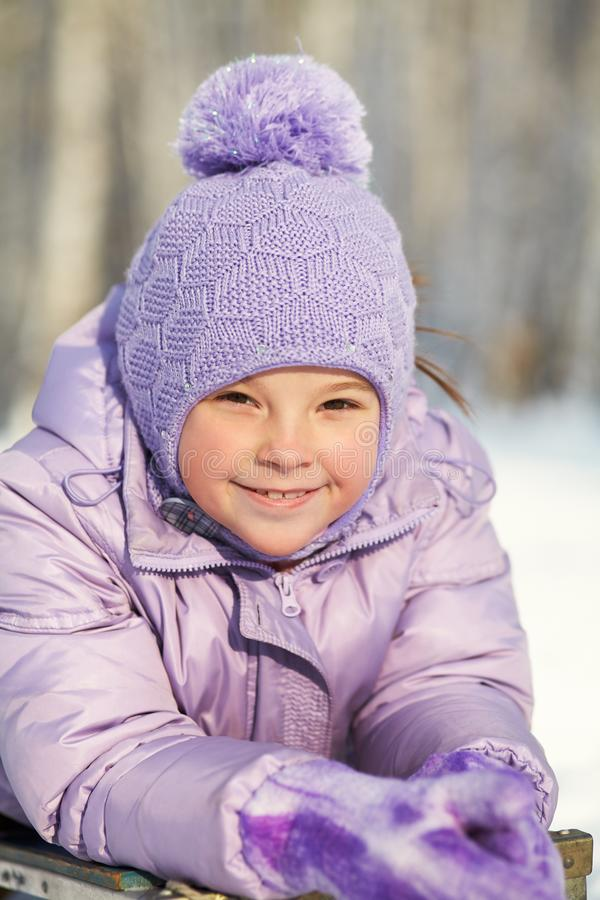 Free Portrait Of A Funny Little Girl On A Walk In The Winter. Child Outdoors. Stock Photo - 166751830