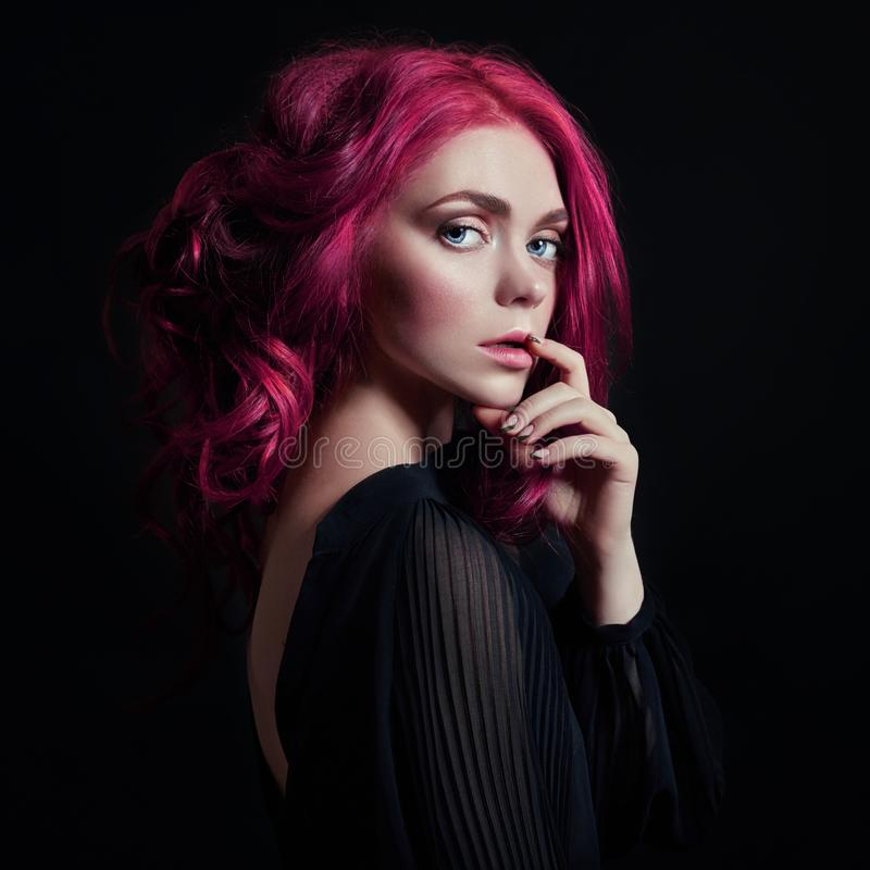 Free Portrait Of A Woman With Bright Colored Flying Hair, All Shades Of Pink. Hair Coloring, Beautiful Lips And Makeup. Hair Fluttering Royalty Free Stock Image - 126993106