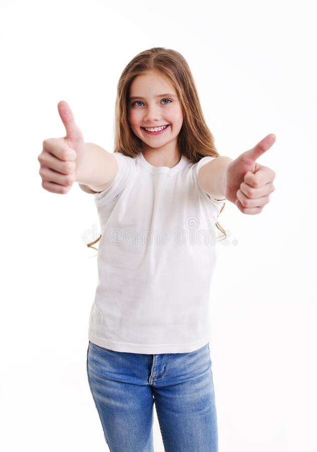 Free Portrait Of Adorable Smiling Little Girl Child In Jeans And White T-shirt With Two Fingers Up Isolated Royalty Free Stock Images - 178414769