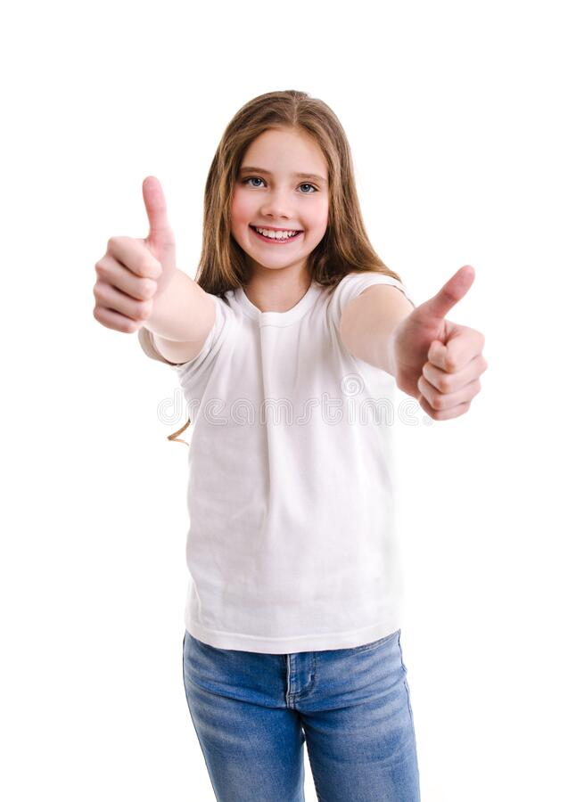 Free Portrait Of Adorable Smiling Little Girl Child In Jeans And White T-shirt With Two Fingers Up Isolated Royalty Free Stock Image - 182417866