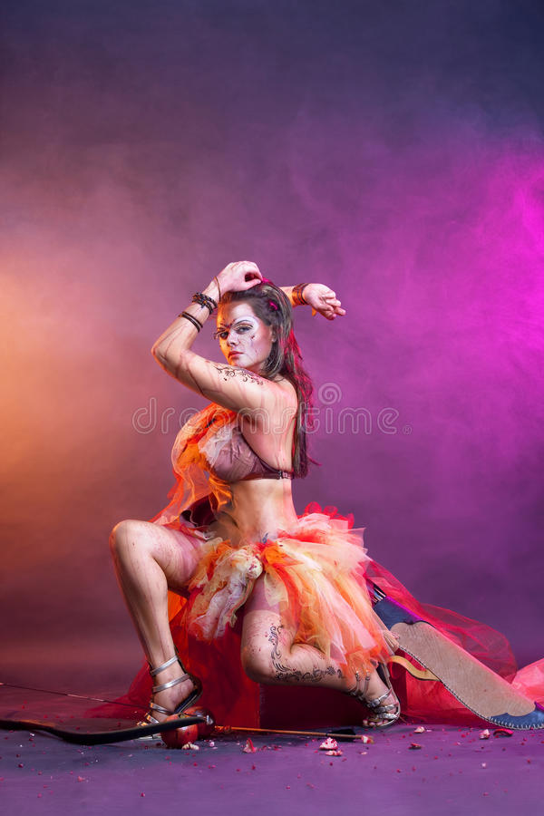 Free Portrait Of Amazon Girl With Creative Body-art Royalty Free Stock Images - 19455039