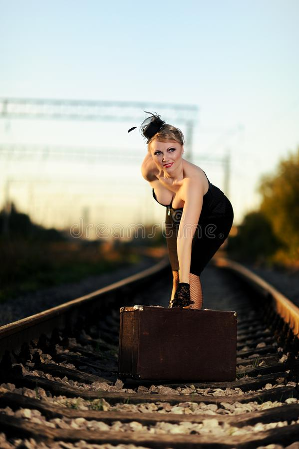 Free Portrait Of Attractive Girl On Railroad Stock Photos - 157070353