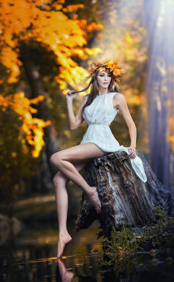 Free Portrait Of Beautiful Girl In The Forest. Girl With Fairy Look In Autumnal Shoot. Girl With Autumnal Make Up And Hair Style Stock Images - 34866934