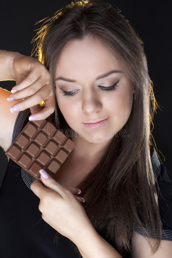 Free Portrait Of Beautiful Girl With A Chocolate Royalty Free Stock Photo - 13151055