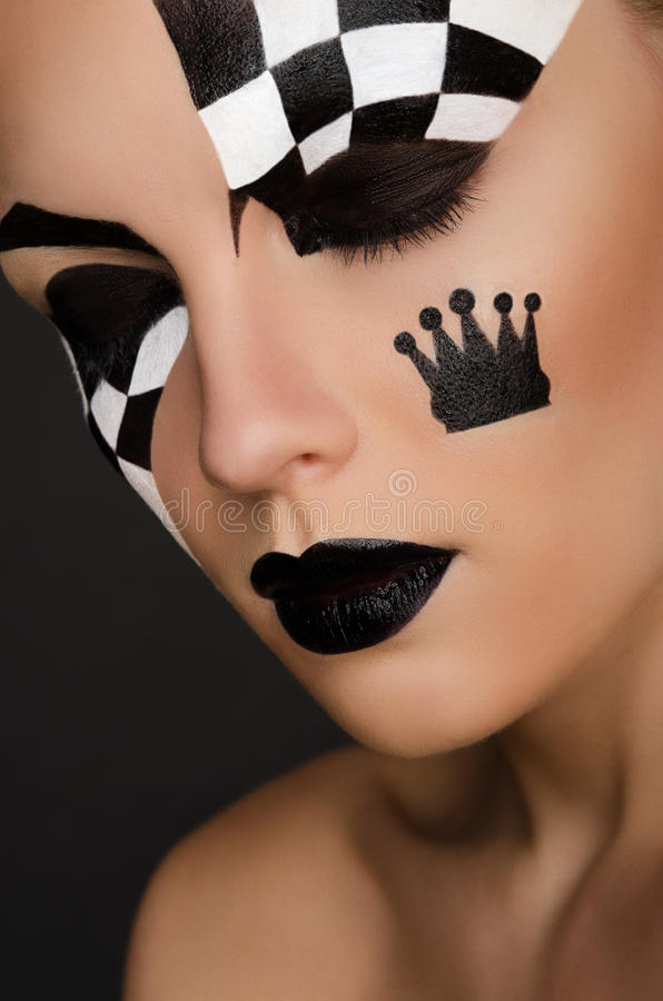 Free Portrait Of Beautiful Woman With Black And White Face Art Royalty Free Stock Photography - 69348847